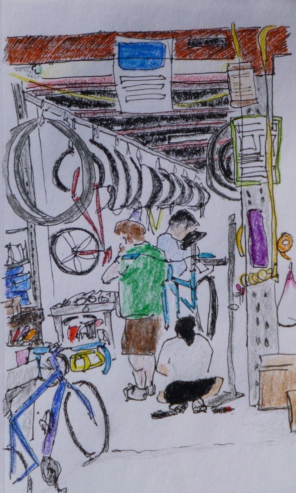 Bicycle Repair Shop | Urban Sketchers O'ahu